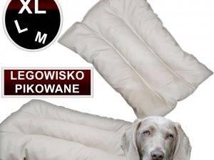 Legowisko dla psa pikowane eko skóra M siwa