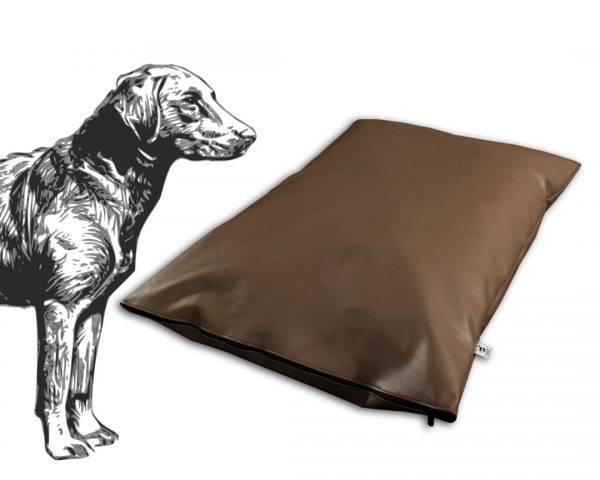 Poduszka ekoskóra legowisko dla psa brązowa