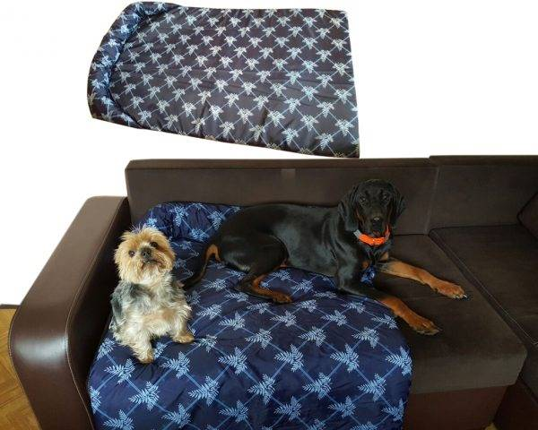 Legowisko ortalionowe typu protektor na kanapę lub fotel retro niebieski korso boss