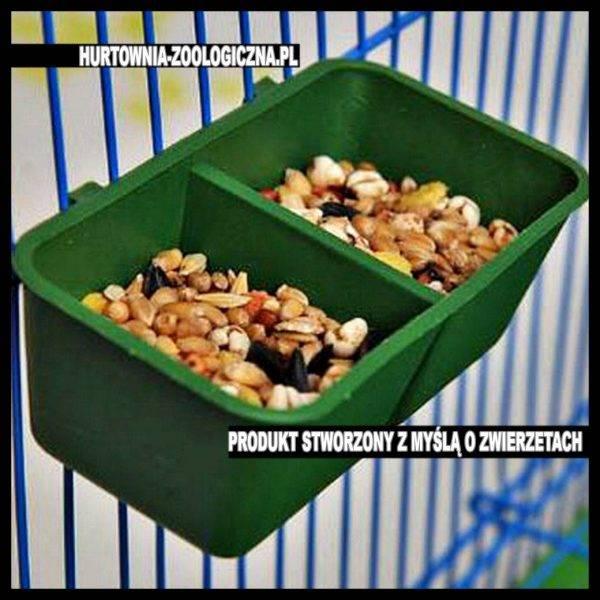 sklep zoologiczny akcesorium karmidełko podwójne zielone do klatki chomik mysz papuga ptaki