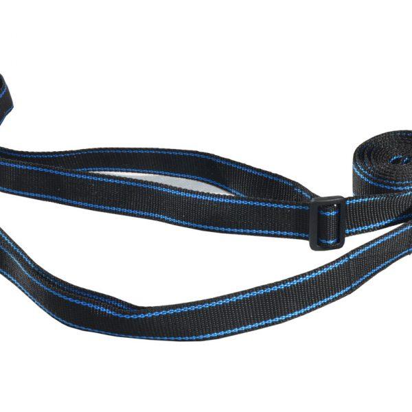 Smycz treningowa 2 w 1 z obrożą 3m 25mm czarna z niebieskim paskiem