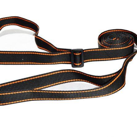 Smycz treningowa 2 w 1 z obrożą 3m 25mm czarna z pomarańczowym paskiem