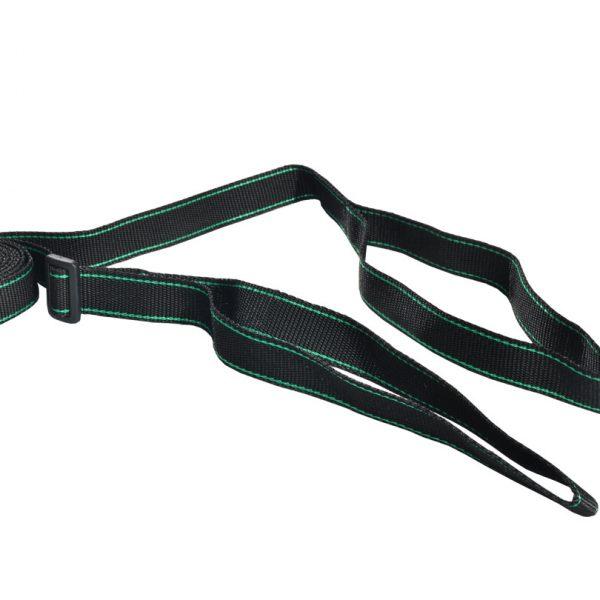 Smycz treningowa 2 w 1 z obrożą 3m 25mm czarna z zielonym paskiem