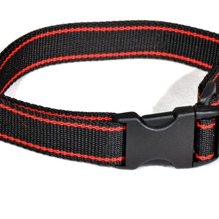 Czarna obroża z czerwonym paskiem dla psa M – XXL  rozmiary