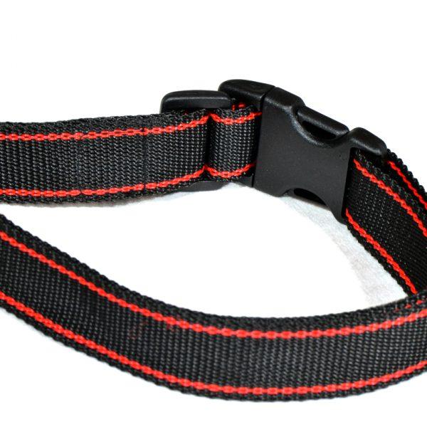 Czarna obroża z czerwonym paskiem dla psa M - XXL rozmiary2