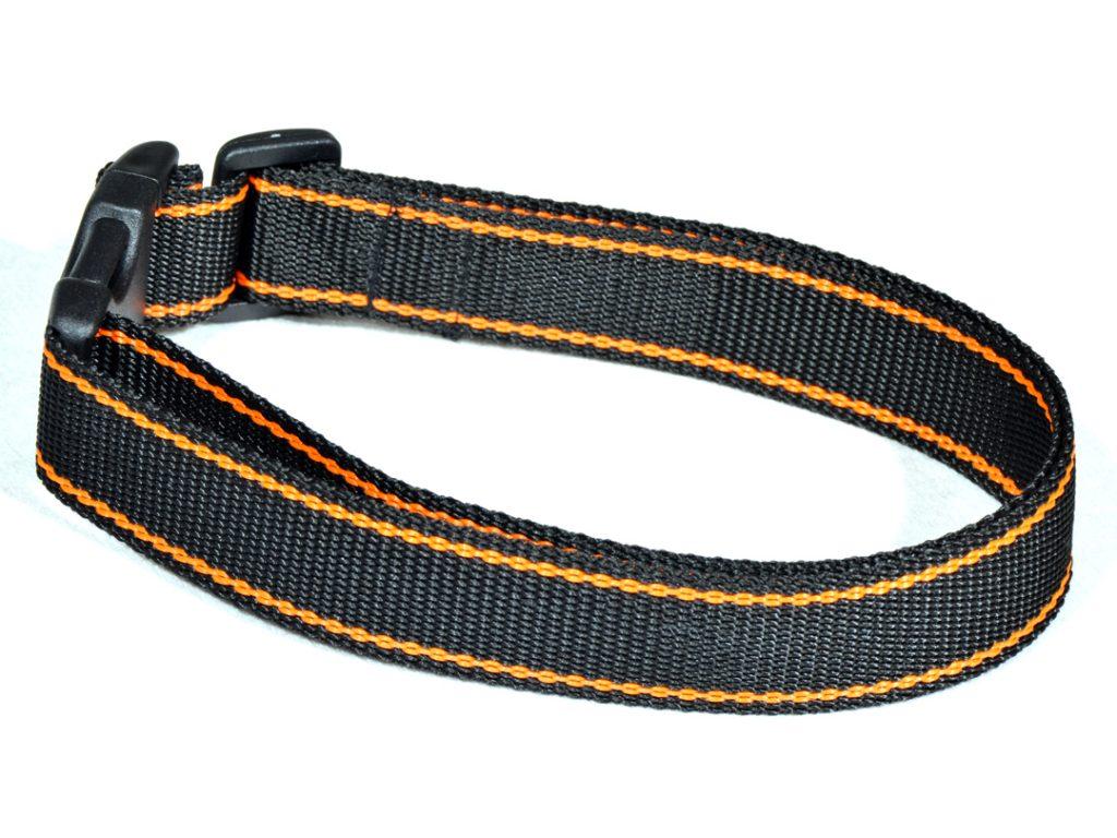 Czarna obroża z pomarańczowym paskiem dla psa M – XXL  rozmiary