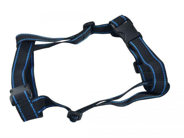 Szelki-dla-psa-M-XXL-czarne-z-niebieskim-paskiem
