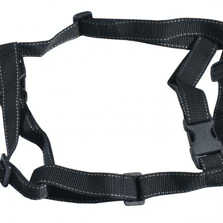 Szelki dla psa M-XXL czarne ze srebrnym paskiem