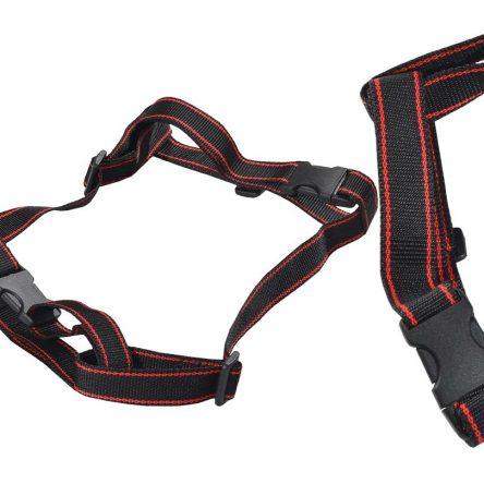Szelki dla psa M-XXL czarne z czerwonym paskiem