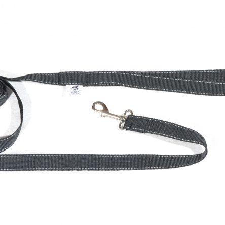 Tradycyjna smycz dla psa 2m czarna z paskiem