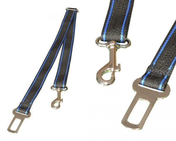 Pasy Bezpieczeństwa dla Psa do Samochodu Czarne z niebieskim paskiem