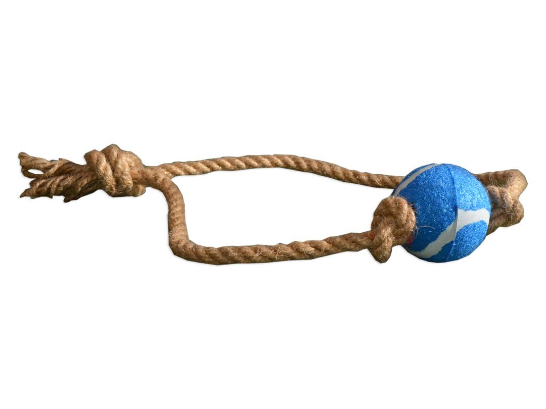 Zabawka dla psa piłka na sznurku do aportowania