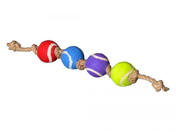 Zabawka dla psa piłka na sznurku jutowym poczwórna