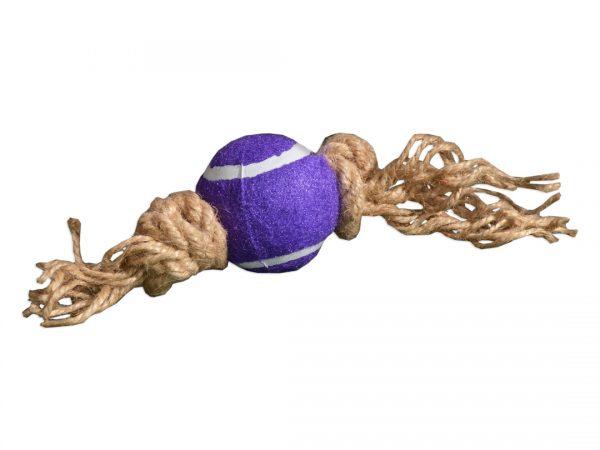 Zabawka dla psa piłka na sznurku jutowym