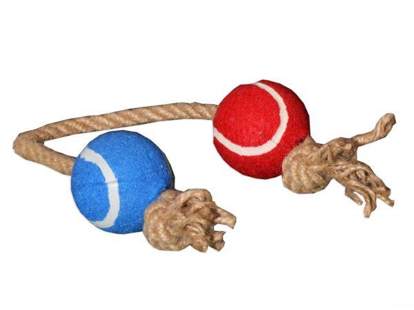 Zabawka dla psa piłki na sznurku do aportowania