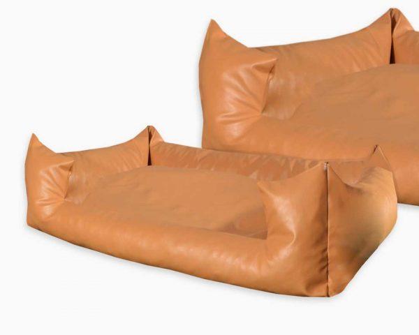 Legowisko kanapa z wejściem ekoskóra dla psa brązowa jasna