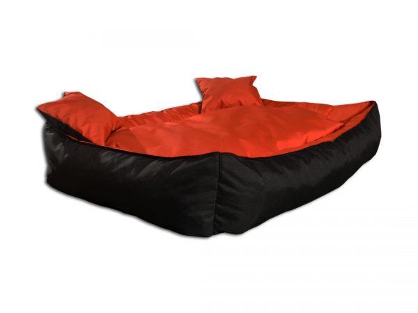 Legowisko kanapa dwukolorowa dla psa czarno pomarańczowa