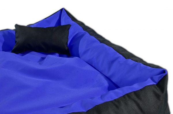 Legowisko kanapa dwukolorowa dla psa niebiesko czarna