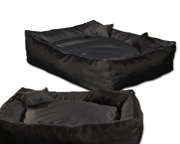 Legowisko kanapa dwukolorowa dla psa wyjmowana poduszka siwa