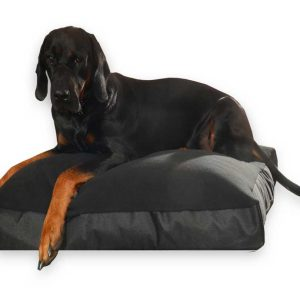 legowisko prostokątne polarowe dla dużego psa czarne